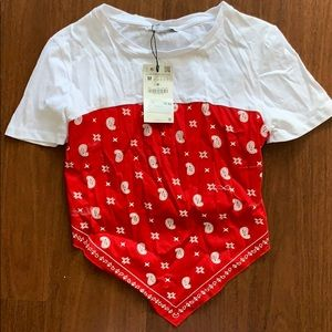 Zara red handkerchief t shirt